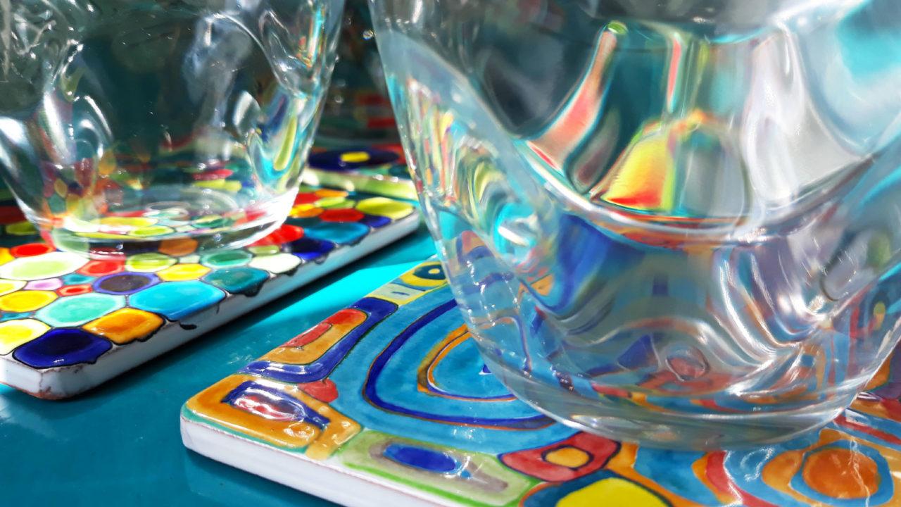 Dessous de verre céramique colorés