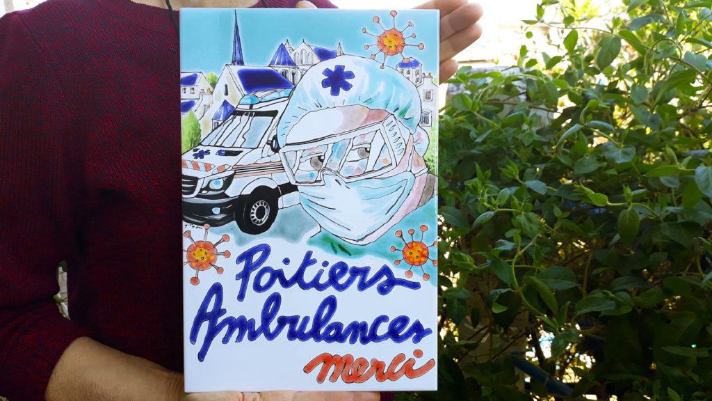 plaque céramique ambulances Poitiers