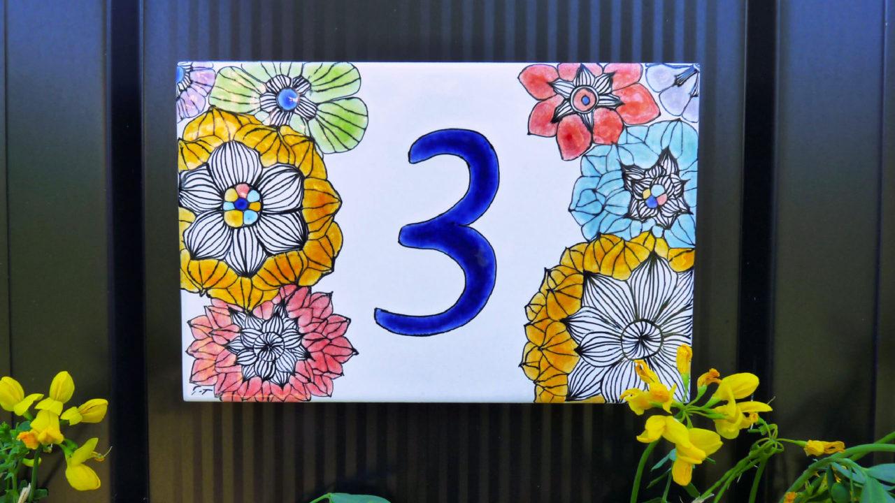 numéro de maison artisanal jardin fleurs